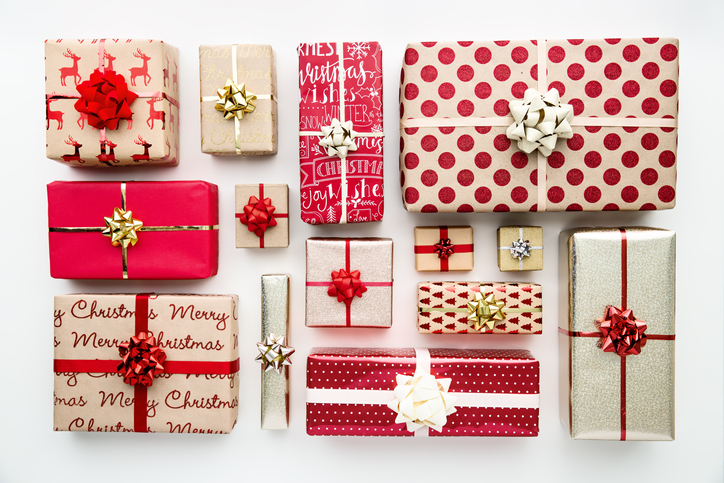 Collection of Christmas presents, overhead view