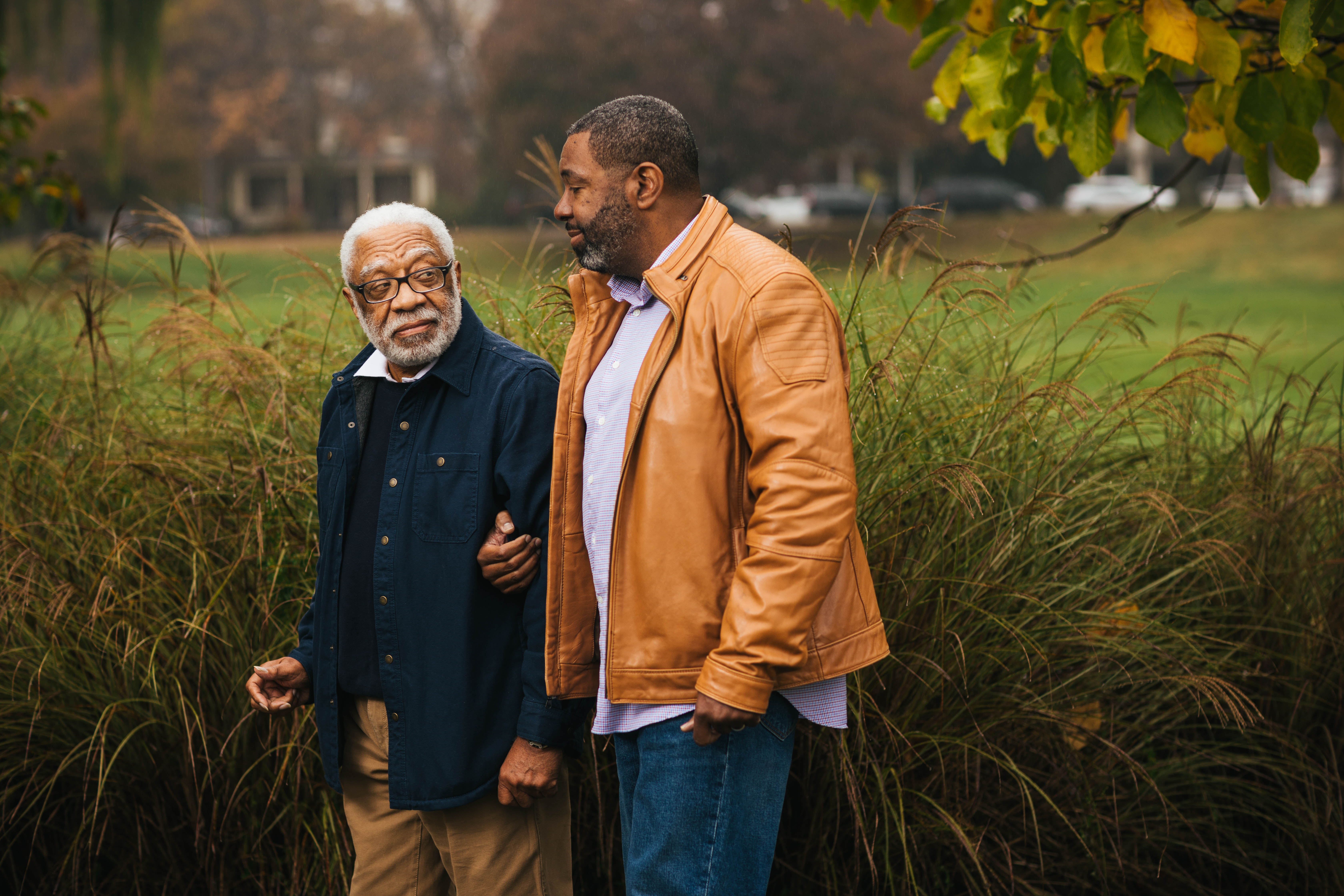 A son helps his father in Frederick, Maryland.
