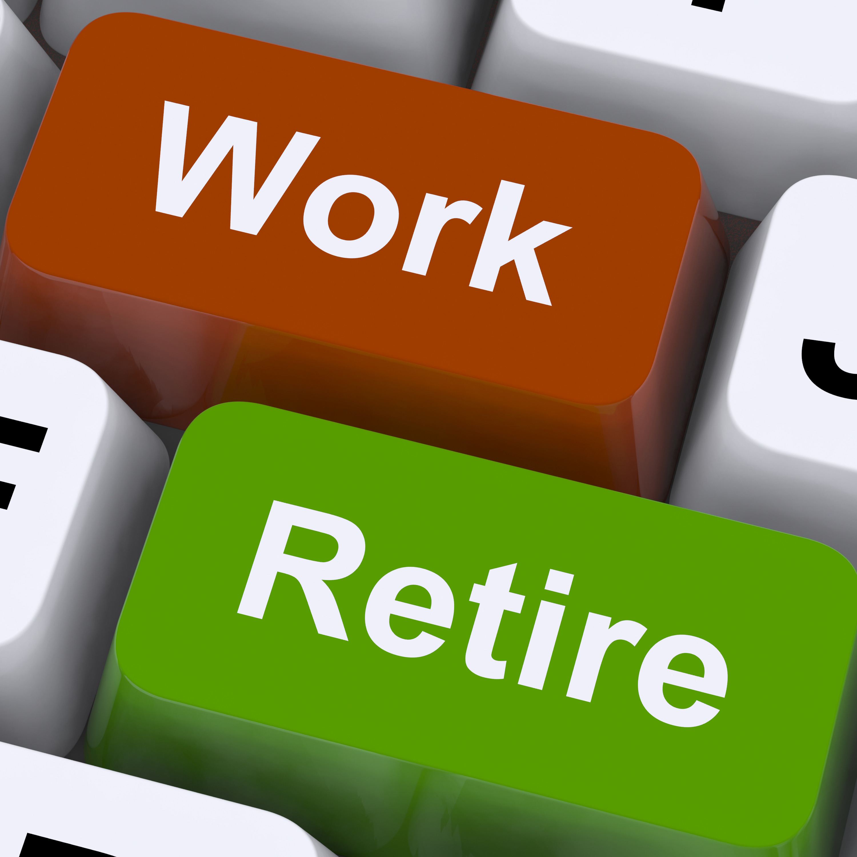 Work Or Retire Signpost Shows Choice Of Working Or Retirement