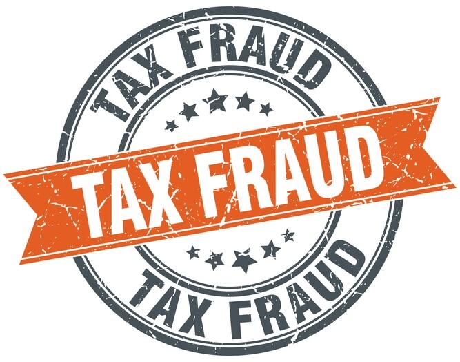 tax fraud round orange grungy vintage isolated stamp