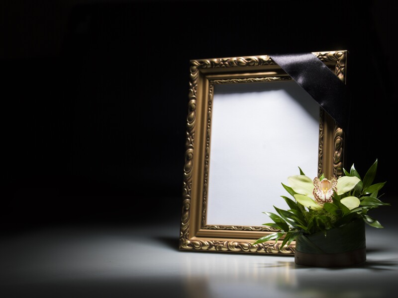Blank mourning frame for sympathy card