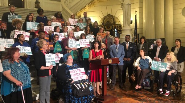 AARP PA State President Joanne Grossi speaks at press conference