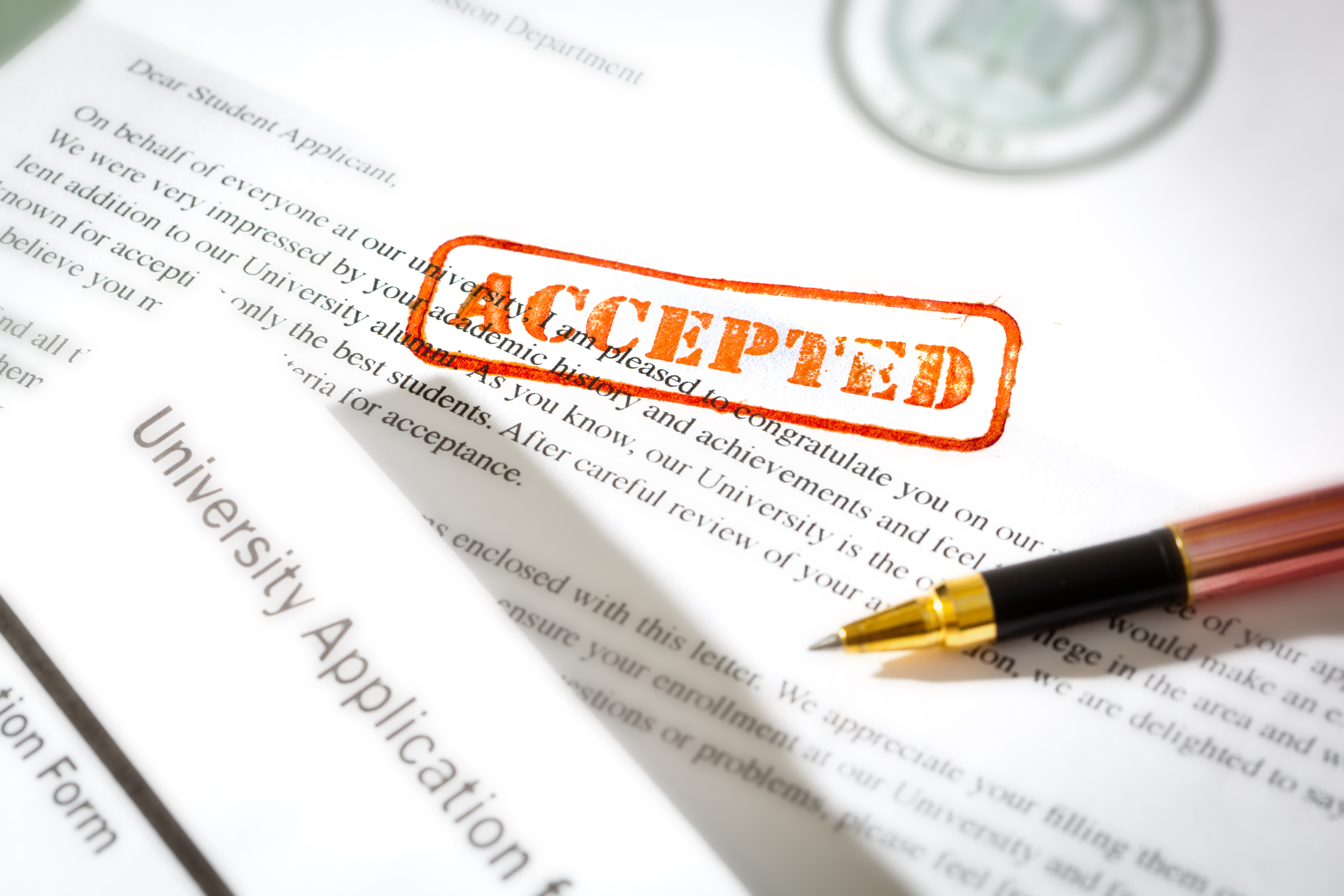 University Application Acceptance Notification Letter with ACCEPTED Stamp