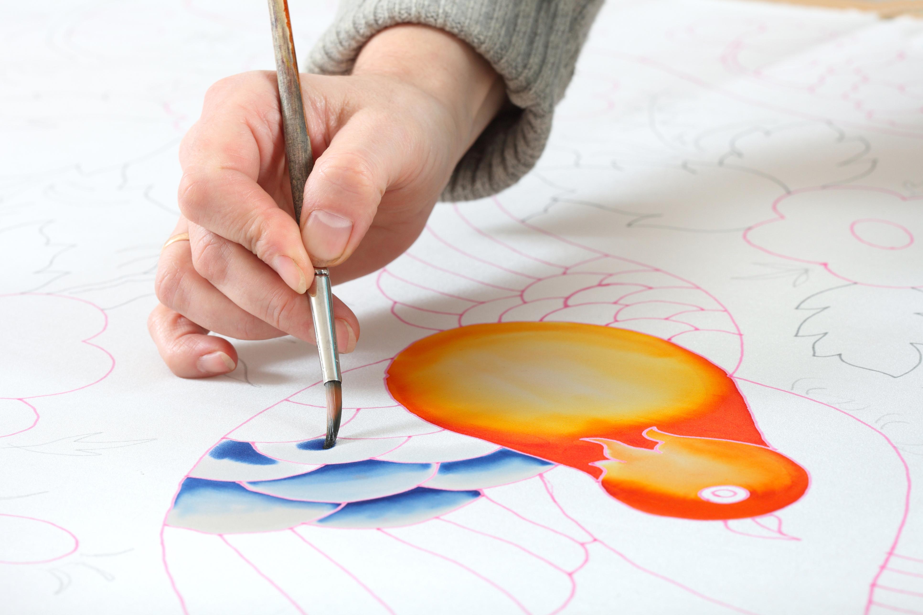 women hand painted silk